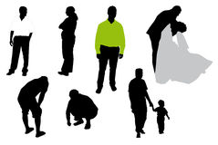 Silhouettes of people. Stock Images