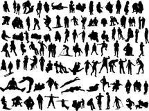 Silhouettes of the people. 100 silhouettes of the people Stock Photos