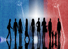Silhouettes of People. A red, white and blue abstract background with silhouettes of people Royalty Free Stock Photo