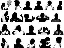 Silhouettes of People. A collection of silhouetted images with people in black and white royalty free illustration