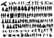 Silhouettes of people. And acrobat Stock Photography