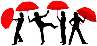 Silhouettes of people. With red umbrellas. An illustration Stock Photos