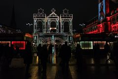 Christmas markt Hamburg on the Town hall square royalty free stock photography