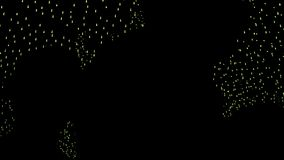 Silhouettes people on background decorative outdoor lights at night. Abstract background night illumination. Decorative lighting garlands in streets night city stock video footage