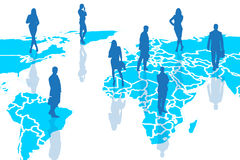 Silhouettes of people on the blue cartography. Stock Image