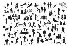 Silhouettes of people in the city park scenes set, men women children make sport, walk, at picnic, relaxing vector illustration