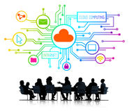 Silhouettes of People Cloud Computing Concepts Stock Photography