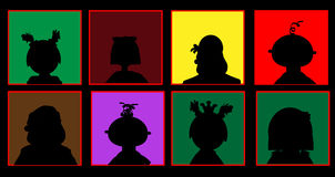 Silhouettes of people on a colored background Stock Photo