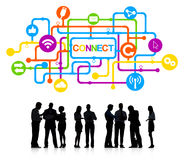 Silhouettes of People and Connect Concepts Stock Image
