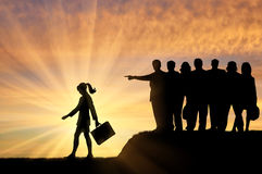 Silhouettes of people crowd woman expelled from their society. royalty free illustration