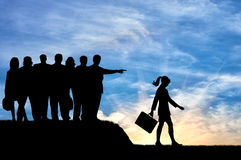 Silhouettes of people crowd woman expelled from their society. stock illustration
