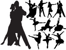 Silhouettes of people dancing. Vector silhouettes of people dancing different types of dance Stock Photos