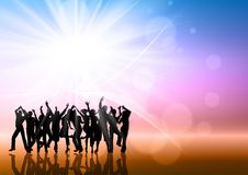 Party people background. Silhouettes of people dancing on an abstract background Stock Images