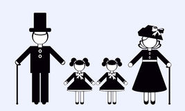 Silhouettes of People. Family. Royalty Free Stock Photos