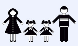 Silhouettes of People. Family. Stock Image
