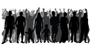 Silhouettes of people in full growth, crowd. Cheerful people. Stock Photography