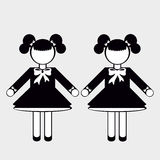 Silhouettes of People. Girls. Silhouettes of People in Black and White colors Royalty Free Stock Photography