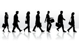Silhouettes people go to work Royalty Free Stock Photography