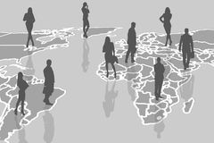 Silhouettes of people on the gray cartography. Royalty Free Stock Image