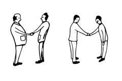 Silhouettes of People - handshake. Hand drawn silhouettes of People - handshake Stock Photo