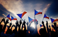 Silhouettes of People Holding Flag of Czech Republic Royalty Free Stock Photo