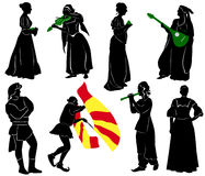 Silhouettes of people in medieval costumes Royalty Free Stock Image