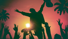 Silhouettes of People in Music Festival by the Beach Concept.  Stock Image