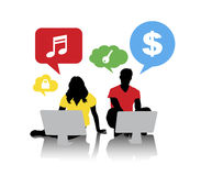 Silhouettes of People Networking on Desktop PC Stock Images