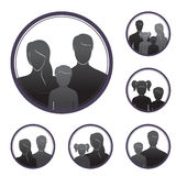 Silhouettes of people, parents and children, in the framework. Six examples of silhouettes of people, parents and children Stock Photos