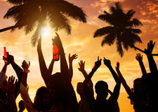 Silhouettes of People Partying on the Beach.  Royalty Free Stock Photo