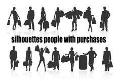 Silhouettes  people with purchases Royalty Free Stock Photo