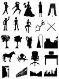 Silhouettes people, robots, offices, scenes. Random batch of silhouettes people, robots, offices, scenes Royalty Free Stock Image