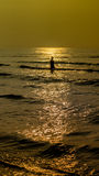 Silhouettes of people in the sea. Silhouettes of people in the sea at HuaHin Thailand Stock Images