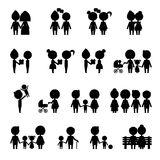 Silhouettes people set. Silhouette people in everyday situations Royalty Free Stock Photography