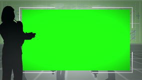 Silhouettes of people shaking hands with two screens in chroma key. Animation with silhouettes of people shaking hands with two screens in chroma key stock footage