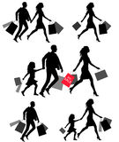 Silhouettes of people shoping Stock Photos