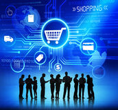 Silhouettes of People and Shopping Concepts Stock Images