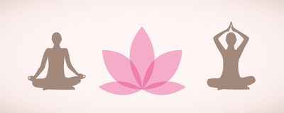 Silhouettes of people sitting in yoga pose for relaxation and meditation with pink lily flower stock illustration