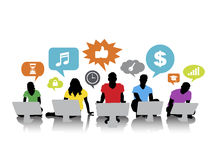 Silhouettes of People Social Networking on Desktop PC Stock Images