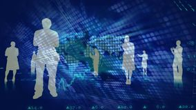 Silhouettes of people standing on a blue digital background with data and world map stock illustration