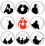 Silhouettes of people to express their thoughts Royalty Free Stock Photo