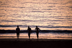 Silhouettes of people walking on a beach Stock Images