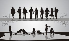 Silhouettes of people. Youth. Rest. Vector Stock Photography