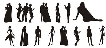 Silhouettes of peoples Stock Image
