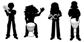 Silhouettes of percussionists Royalty Free Stock Images