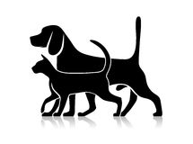 Silhouettes of pets, cat and dog Royalty Free Stock Photos