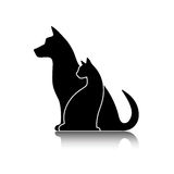 Silhouettes of pets, cat dog Stock Image