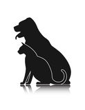 Silhouettes of pets, cat dog Royalty Free Stock Photos