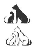Silhouettes of pets, cat dog Stock Images
