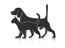 Silhouettes of pets Stock Photography